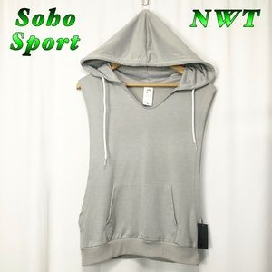 NWT-Soho Sport Gray Open sides Hooded Sports Top L